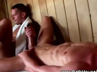super gay cockstarved studs in sauna group fuck
