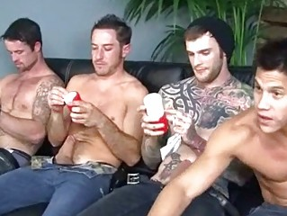 fours horny gay hunks pushing dildo on fuck