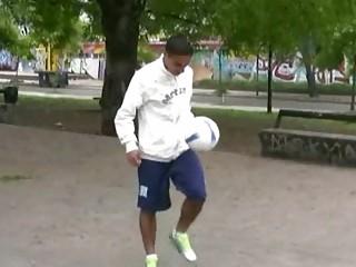 ebony gay hunk teases ballgame openair