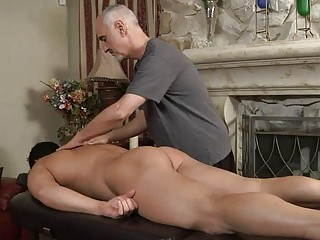 older  gay hunk licks fresher uneasy  cock on