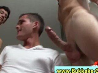 young mixed gay gets bukkake