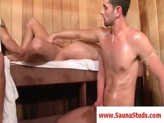 lean gay lick a chubby penis in sauna
