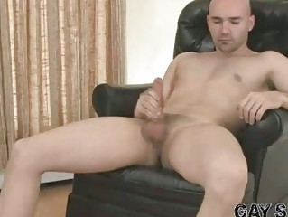 fantastic bald gay bucky wanking his very big
