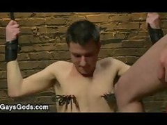 clamped breast gays licks dick to his master