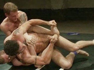 triple gay boys having crazy fuck after wrestling