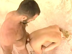 gorgeous hairy dad gang-bangs albino twink next a