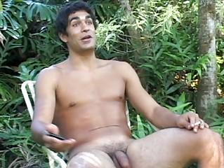 slutty gay fucker jerks off his plump shaft near