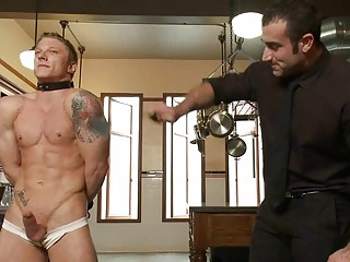 tattooed muscled gay stud takes tied and whipped