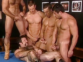 uneasy  bunch  group fuck with desperate gay hunks