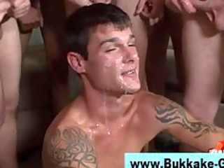 gay bukkake worshiping twink licks and copulates