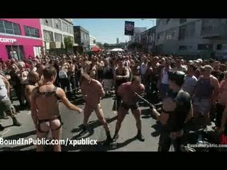 two bound gays flogged into outdoor at daylight