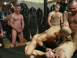 tattooed gay stud takes tied and dominated by