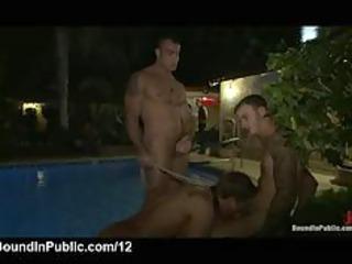 leashed gay licks cocks outdoor in helios resort