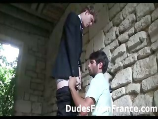 horny gay french fucker sucks guy in suits penis