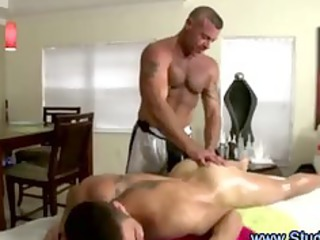 gay masseur uses plastic cock on straight man and