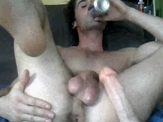 gay man making use of  a sex toy