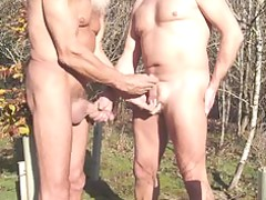 inexperienced and elderly wanking every different