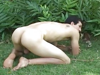 slutty tattoed gay man pleases inside the woods