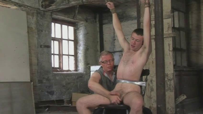 inexperienced gay male obtains bound and given a