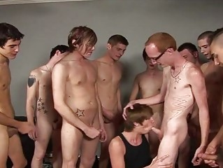 bunch  of turned on twinks white cream on