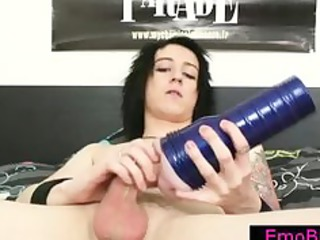 gay emo busting his nuts with a fleshlight part3