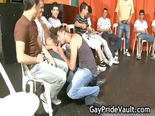 indoor gay gangbang copulate fest