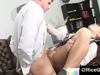 desperate ass gay sex on table at bureau
