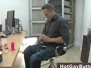 office pushing dildo and blowjob