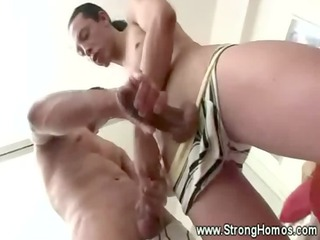 hungry gays pull and lick muscle dick