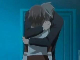 anime gay having kisses and worship