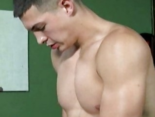 inflexible muscled gay fellow going naked and