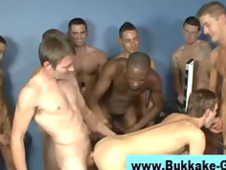 gay bukkake bunch  penis licking