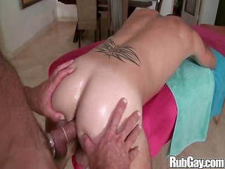 naughty gay masseur hammers his massage client