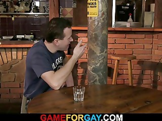 he seduces straight bartender in gay fuck